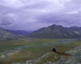 person, hiker, rock, valley