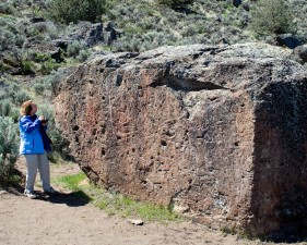 person, observes, petroglyphs, etched, rock