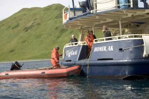 personlig, skip, hjelpe, person, liten båt dock