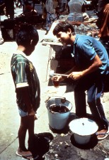 peruvian, street, vendor, selling, corn, based, drink, home