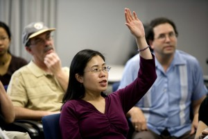 raising, hand, pose, question, Asian, American, woman