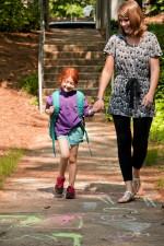 redheaded, school girl, walking