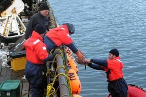 rescue boath, tied, ship
