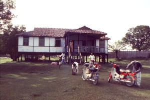 Rest, Haus, Land, Bangladesch, drei, Roller, geparkt, front, gut, sechs Insassen