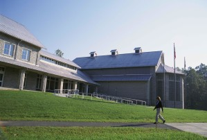 student, walking, main, entry, building