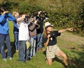 studenti, naučite, birding, dalekozor, zaposlenik