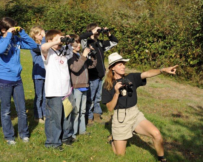 students, learn, birding, binoculars, employee