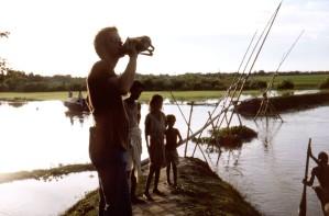 Sylet, district, Bangladesh, debout, devant, typique, bambou, pont