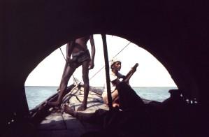 trois, hommes, bateau, voyage, inconnu, le corps, l'eau, petit, ville, Bangla, Népal