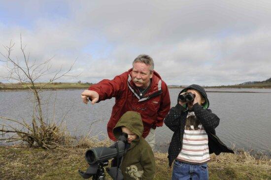 two, children, man, wildlife