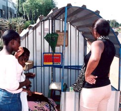 typical, phone, stall, Botswana, operated, private, vendors