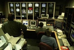 vidéo, la production, les travailleurs, studio, étude, banque, moniteurs, appareil photo, vue