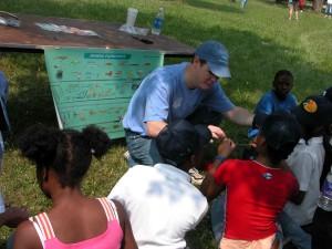 volunteer, show, children, fishing, equipment