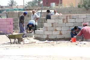 работници, възстановяването, Ramadi, град, Ирак