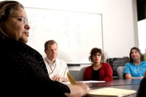 werknemers, zittend, tabel, bespreken
