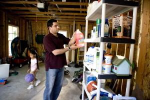 млади, дъщеря, игра, лилаво, баскетбол, баща, работа, гараж