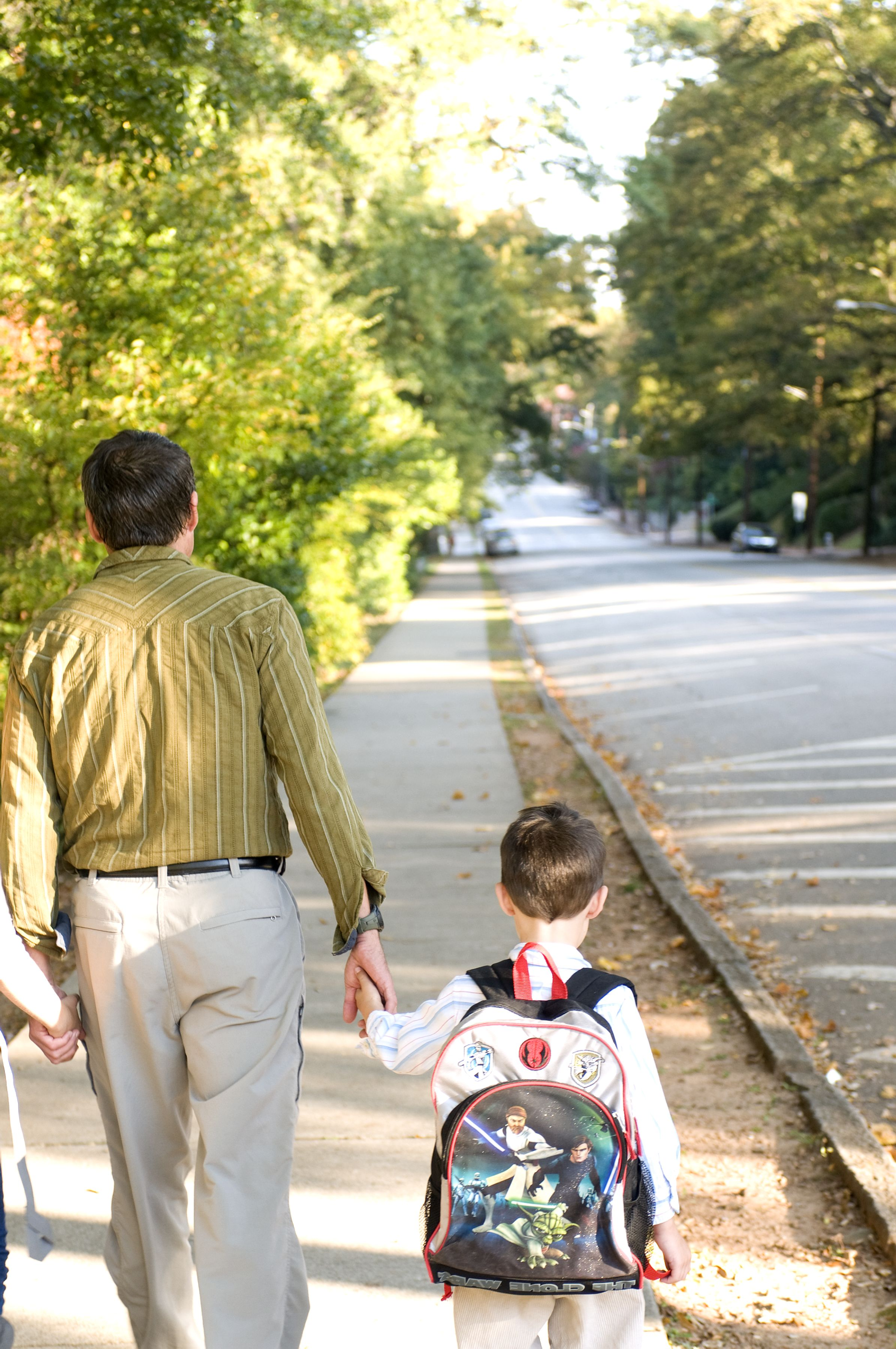 Free photograph; young, son, left, daughter, right, dad, kids, were, using, sidewalk