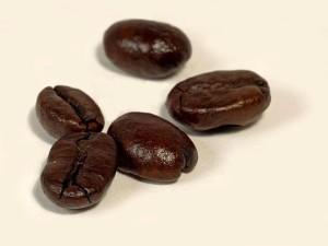 dark, roasted coffee, white background