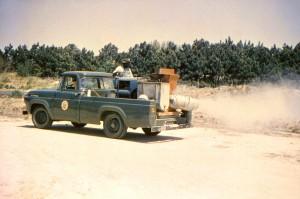 conducción, recogida, camión, equipado, búfalo, la turbina, el soplador