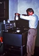 laborantin, centrifugeuse, séparée, de sang, de préparer, de plasma