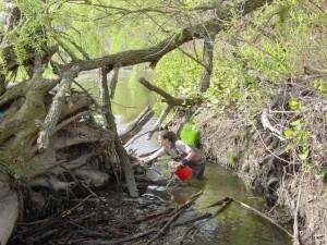 le service, biologiste, nettoie, peu, cuyahoga, rivière
