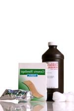 şişe, dezenfektan, hidrojen peroksit, H2O2, kutusu, yapıştırıcı, bandaj, iki, pamuk, topları