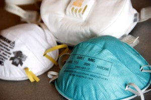 respirator, værker, luft, rensende, respirator, filtrering, facepiece, respirator