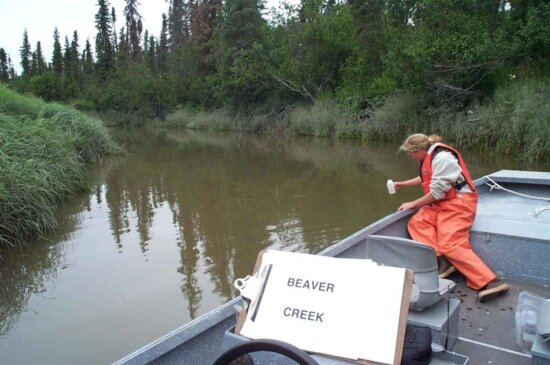 collecting, water, sample, river