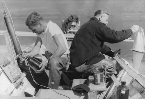 collecting, water, samples, Karluk, lake