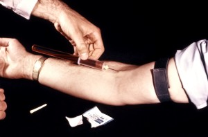 clinician, shown, blood, sample