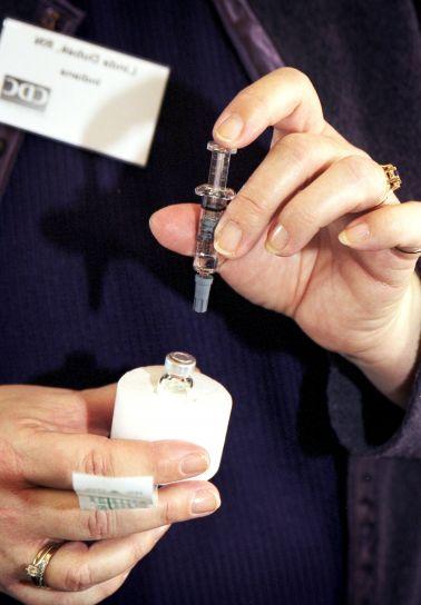 clinicien, des spectacles, la variole, le vaccin, mousse, récipient, diluant, seringue