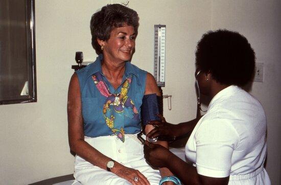 female, nurse, process, conducting, blood, pressure, examination, sitting, female, patient