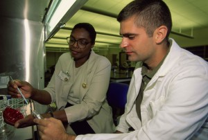 instructor, student, work, medical lab