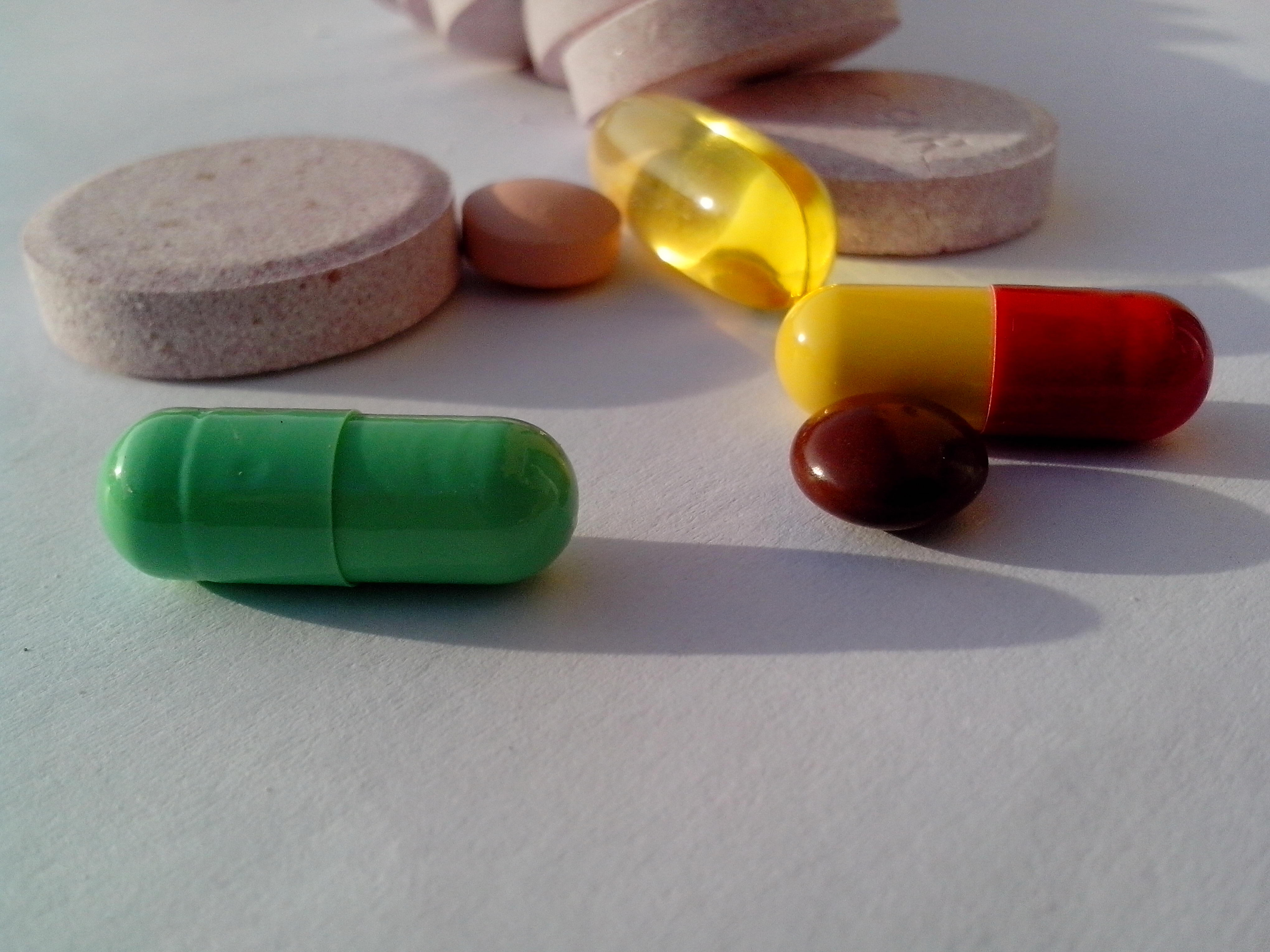 Free photograph; several, drugs, table, including, probiotics, dietary, supplements