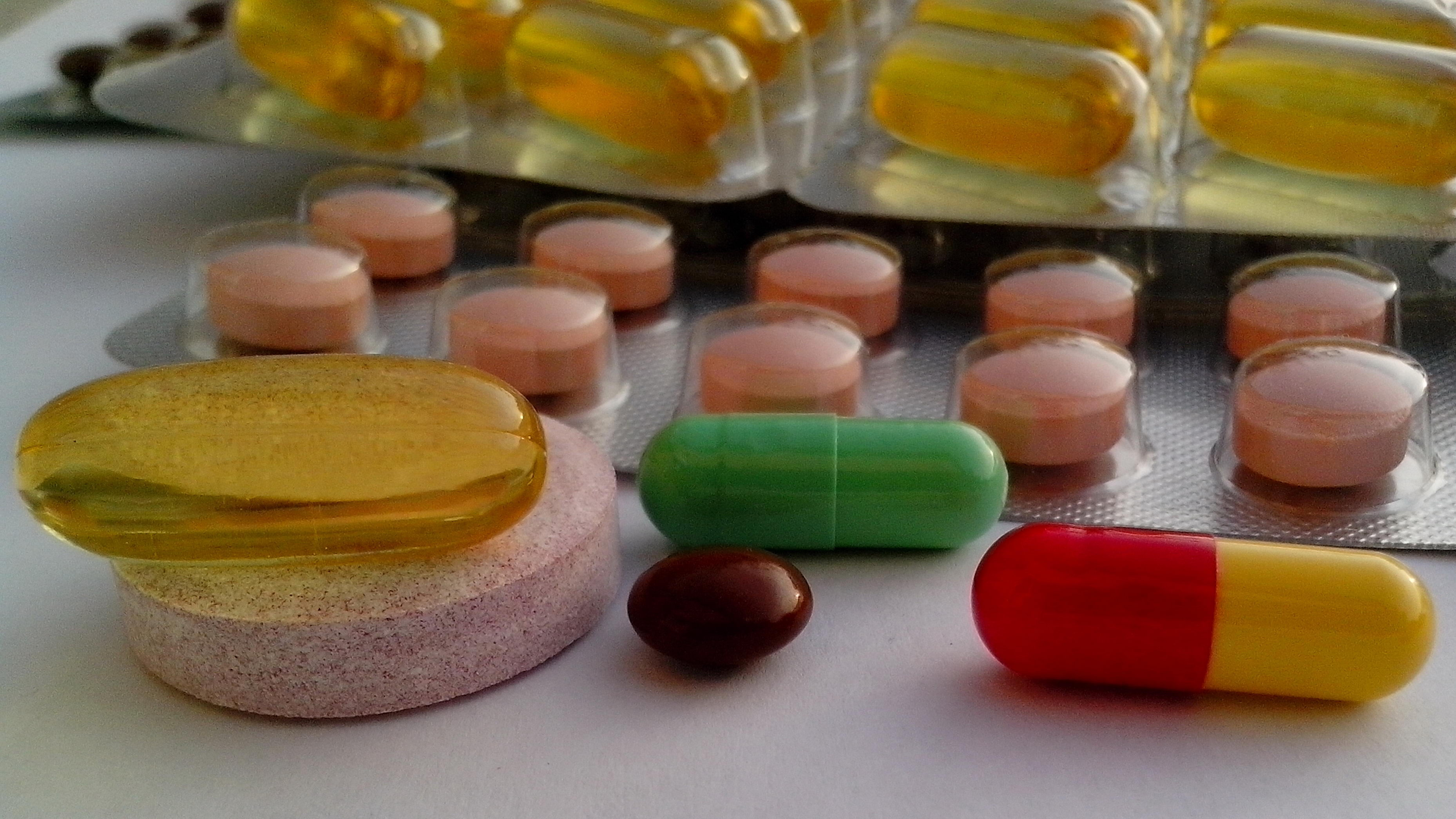 Free photograph; vitamins, minerals, table