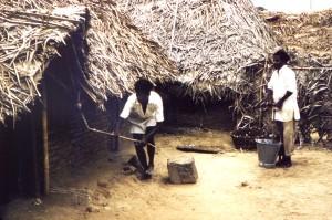 hombres, pueblo, India, pulverización, insecticida, dichlorodiphenyltrichloroethan