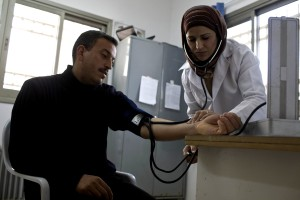 nurse, checking, patients, community, clinic, west, bank, Gaza, improving, community, health