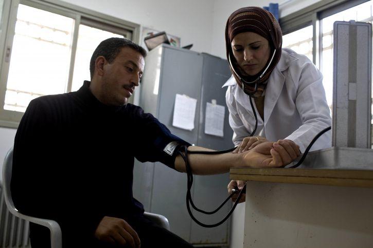 nurse, checking, patients, community, clinic, west, bank, Gaza, improving, community, health