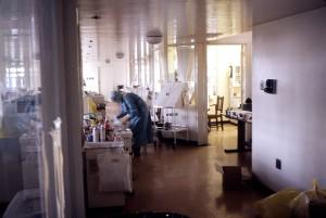 enfermera, aislada, de la sala de 1975, Marburg, brote, Johannesburgo, África