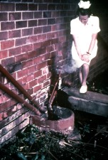 nurse, shown, standing, sewage, pipes, outside, infectious disease, hospital, Johannesburg