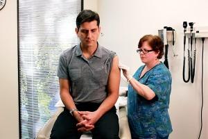 enfermeira, esterilização, pacientes, ombro, região
