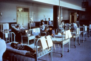 peru, hospital, waiting, room, converted, emergency, cholera, ward, epidemic