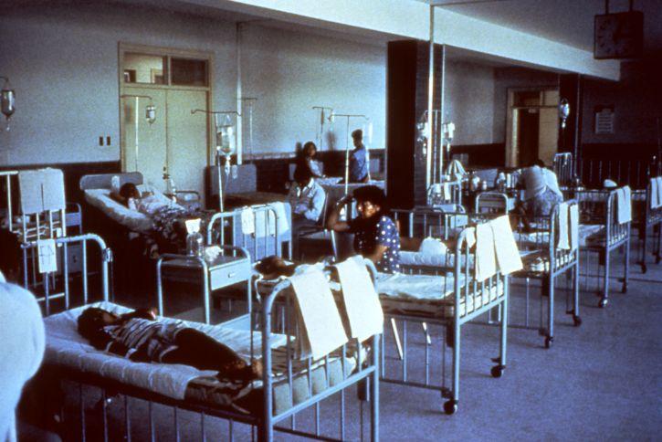 peru, hospital, waiting, room, converted, emergency, cholera, ward, epidemic
