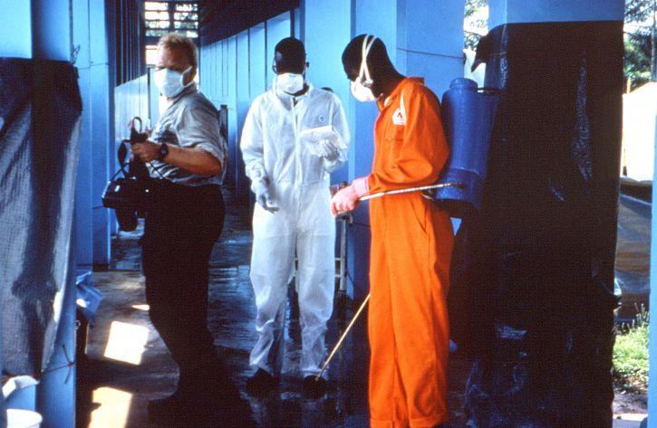 sanitaires, procédures, pratiqué, Kikwit, au Zaïre, clinique, countrys, 1995, ebola, épidémie
