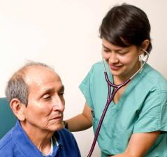 stetoskop, lege, hører, lyder, pasienter, kroppen