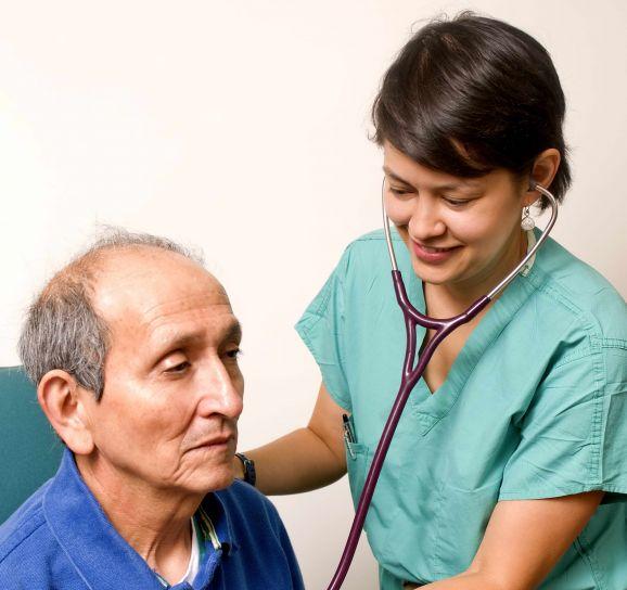 stetoskop, liječnik, čuti zvukove, bolesnika, tijelo