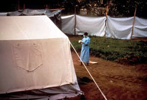 temporary, screens, tents, erected, grounds, Kikwit, general, hospital