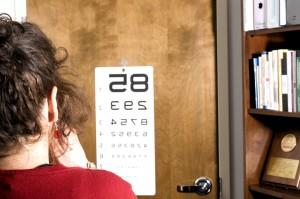 essais, visuel, acuité, couverture, oeil, docteur, bureau