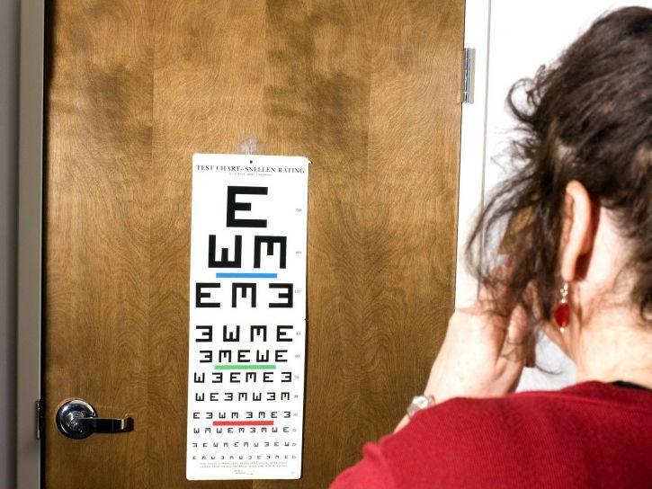 testing, visual, acuity, covering, eye