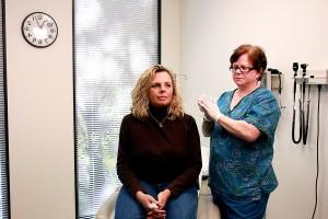 imagen, calificado, enfermera, clínica, establecer, administrar, dosificación